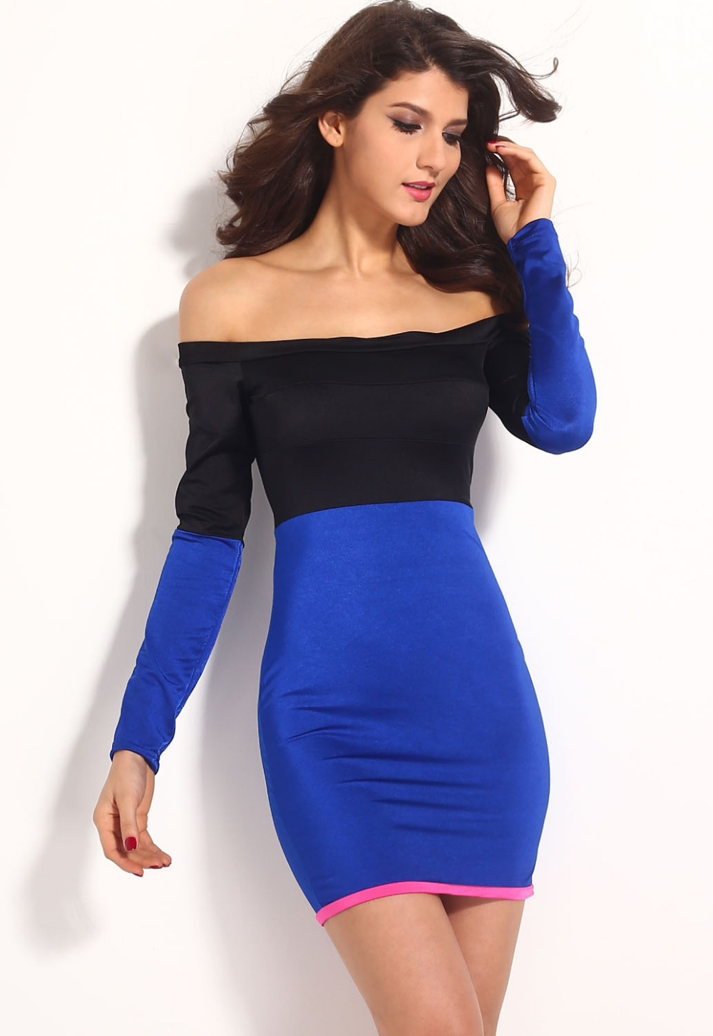 Aliexpress.com : Buy Shiny Black Blue off Shoulder Mini Dress ...