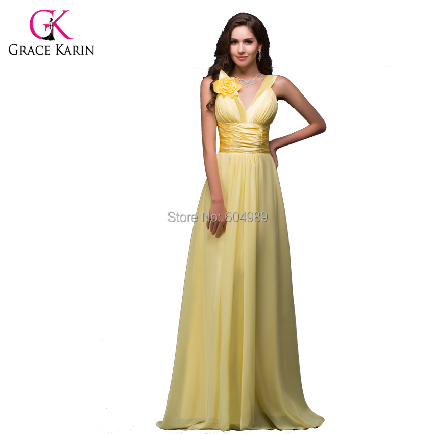 Grace karin chiffon padded long yellow bridesmaid dress for Yellow dresses for wedding guests