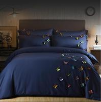 Egyptian Cotton Luxury Bedding Set Butterfly Embroidery Bed Set girls King Queen Bed Linens blue Duvet Cover Bed Sheet