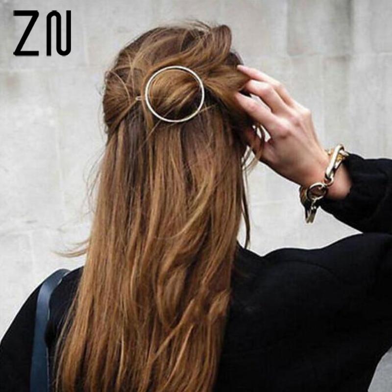 ZN Unique Round hairpin Hiar Stick Circle Arrow Fork Hair Pins Clips Fashion Women Hair Accessories