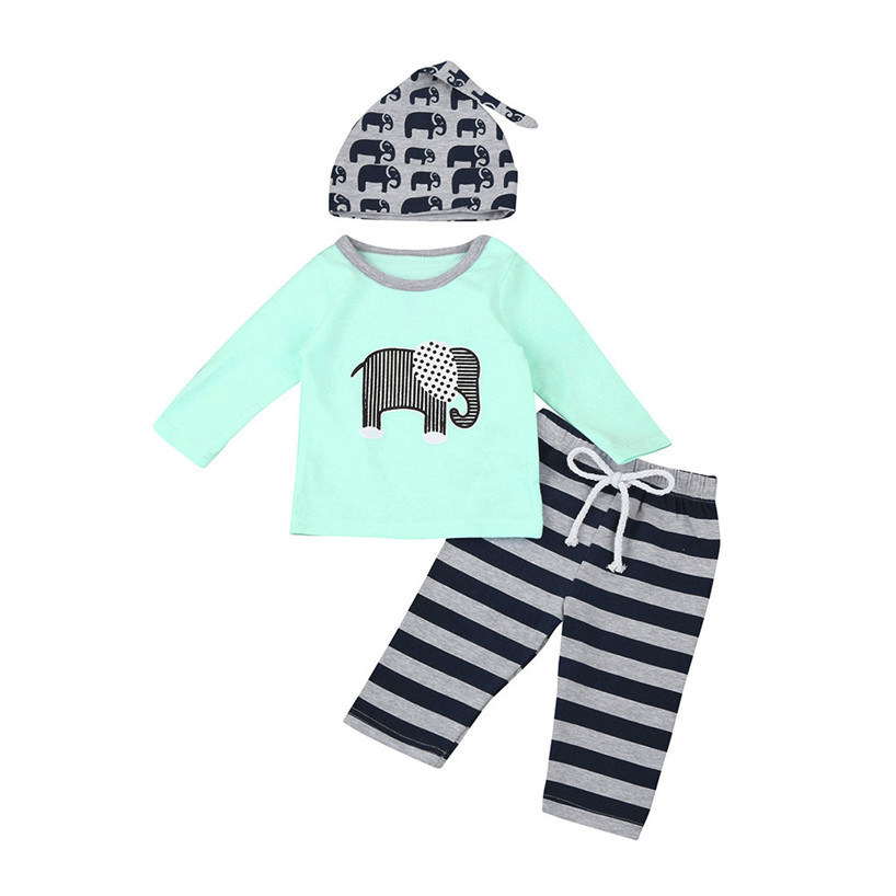 ARLONEET 3pcs Toddler Infant Baby Boy Girl Elephant Clothes Set Tops+Pants+Hat Outfits Feb23/P