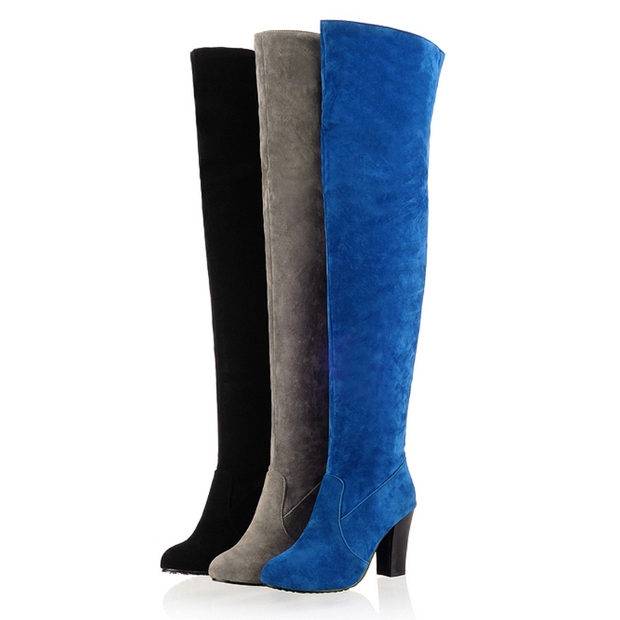 Women Faux Suede Round Toe over the knee boots Ladies High ...