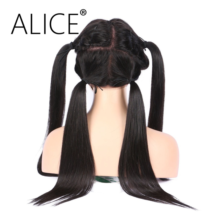 ALICE 150 Density Full Lace Human Hair Wigs With Baby Hair Silky Straight Brazilian Non Remy Hair Wigs No Tangle No Shedding
