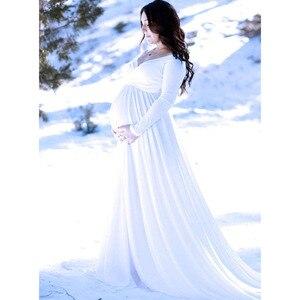 Image 5 - Đuôi Dài Đồ Váy Đầm Cho Buổi Chụp Hình Cho Mẹ Đạo Cụ Chụp Ảnh Đầm Maxi Cho Phụ Nữ Mang Thai Quần Áo Mang Thai Đầm