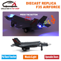 15CM Air Force Metal Plane, Diecast F35 Aircraft Scale Model Toys For Kids With Functions
