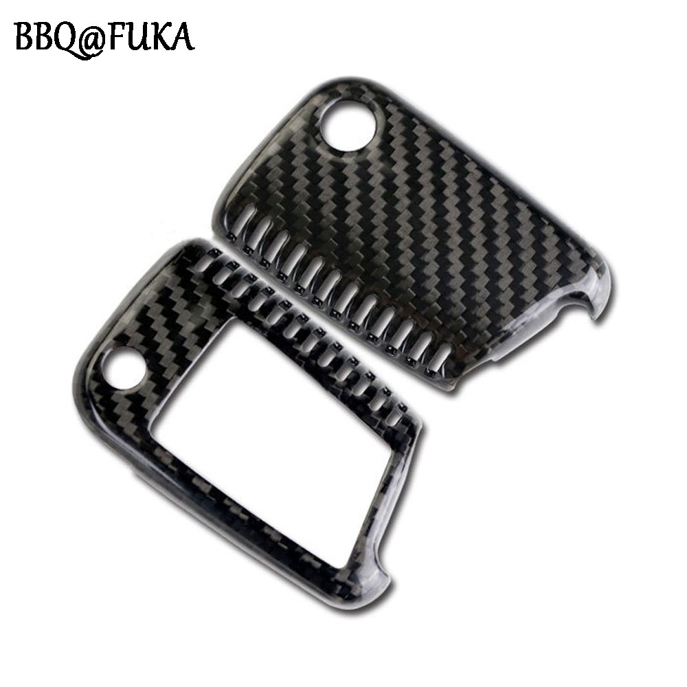 BBQ@FUKA Carbon Fiber Key Cover Case Skin Shell Fob Car Key Holder Covers Fit For Octavia Superb Golf 7 MK7 Car Accessories цена 2016