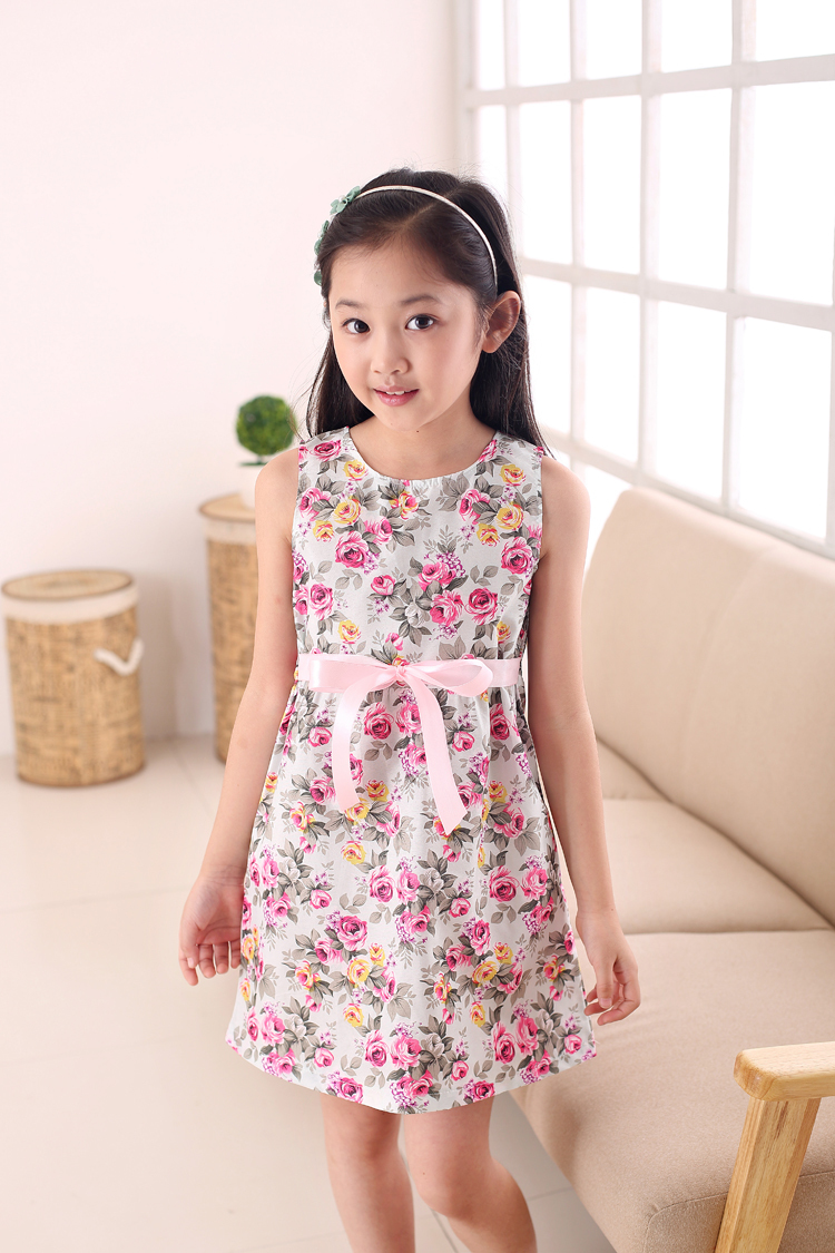 summer style 2019 New Casual Cotton girl dress,Sleeveless baby girls clothes Flowers girl dresses vestido infantil kids clothes