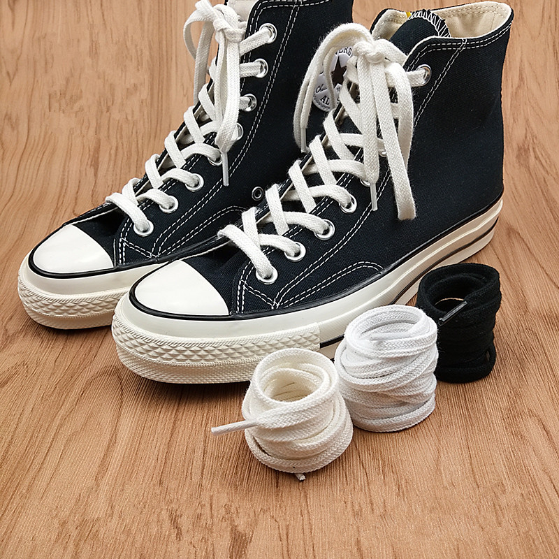 First Grade Fine Cotton Shoelaces High-top Low-top Canvas Shoes Laces 7 Mm Width 100/180 Cm Women Men Shoelaces Dropship