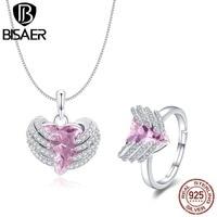 BISAER Hot Fashion 925 Sterling Silver Original Hand Holding Pink Gem Necklace & Finger Ring Fashion Jewelry Sets Weeding HPS081