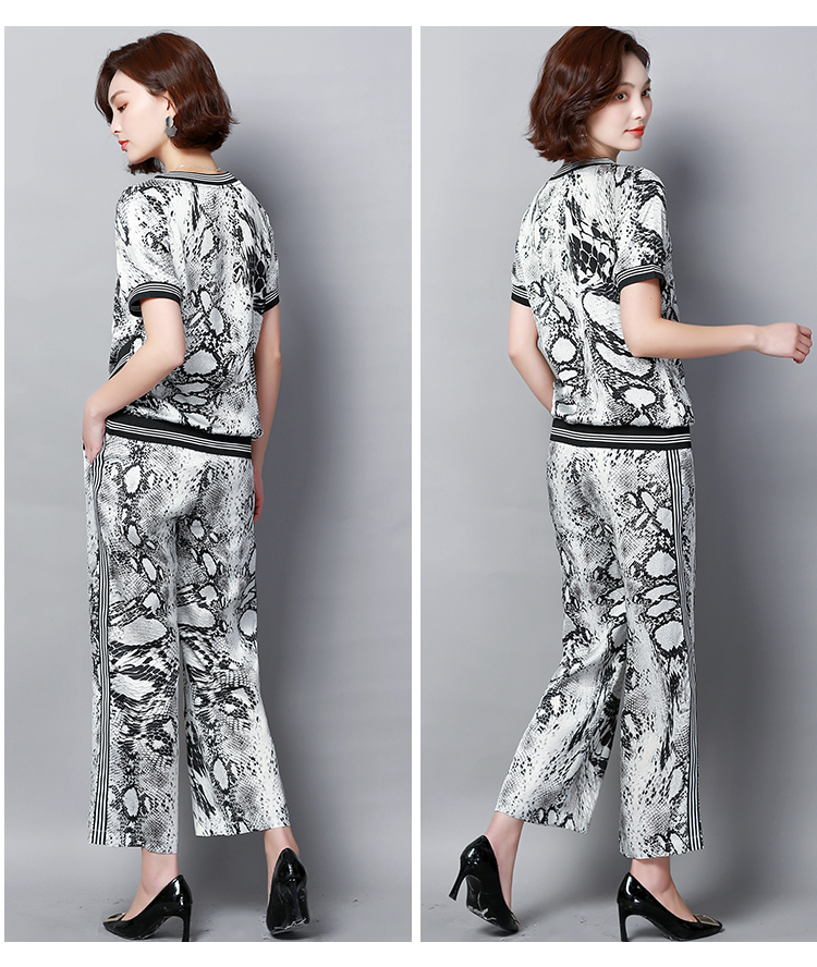 Plus Size Summer Snake Printed Two Piece Sets Women Short Sleeve Tops And Wide Leg Pants Suits Casual Elegant Korean Womens Set 47