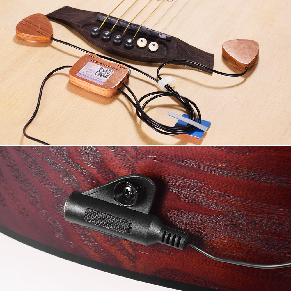 Accessoires guitare guitare en bois capteur de ramassage 3 micros avec prise de sortie 6.35mm pour guitare Folk classique acoustique