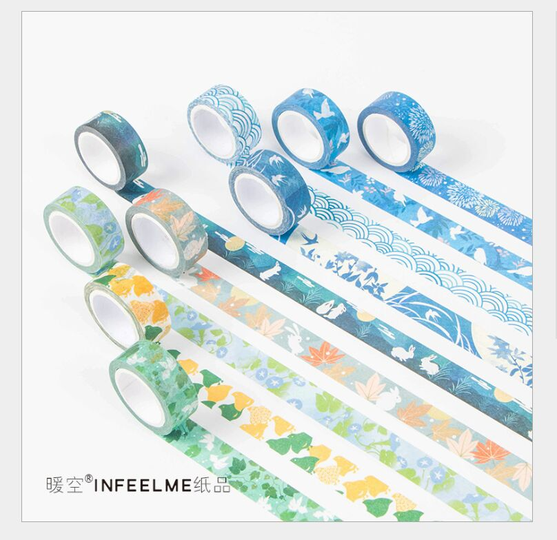 15mm Japanese Sakura Flowers Elk Sea Wave Moon Rabbit Autumn Leaves Washi Tape DIY Planner Diary Scrapbooking Masking Tape Escol