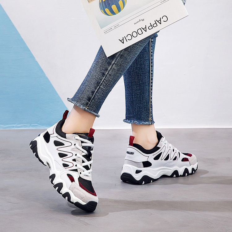 Small white shoes female Harajuku thick bottom flat panda shoes casual wild breathable Korean version of the college wind single