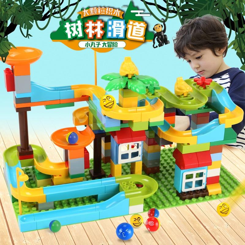 153 pièces marbre course course labyrinthe balles piste blocs de construction Jungle aventure piste briques Compatible Duplo jouets éducatifs pour les enfants