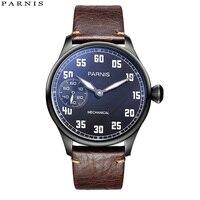 2018 выпуск повседневные мужские часы механические часы с ручным заводом кожа 44 мм Parnis ручной Ветер резерв силы часы 17 драгоценностей