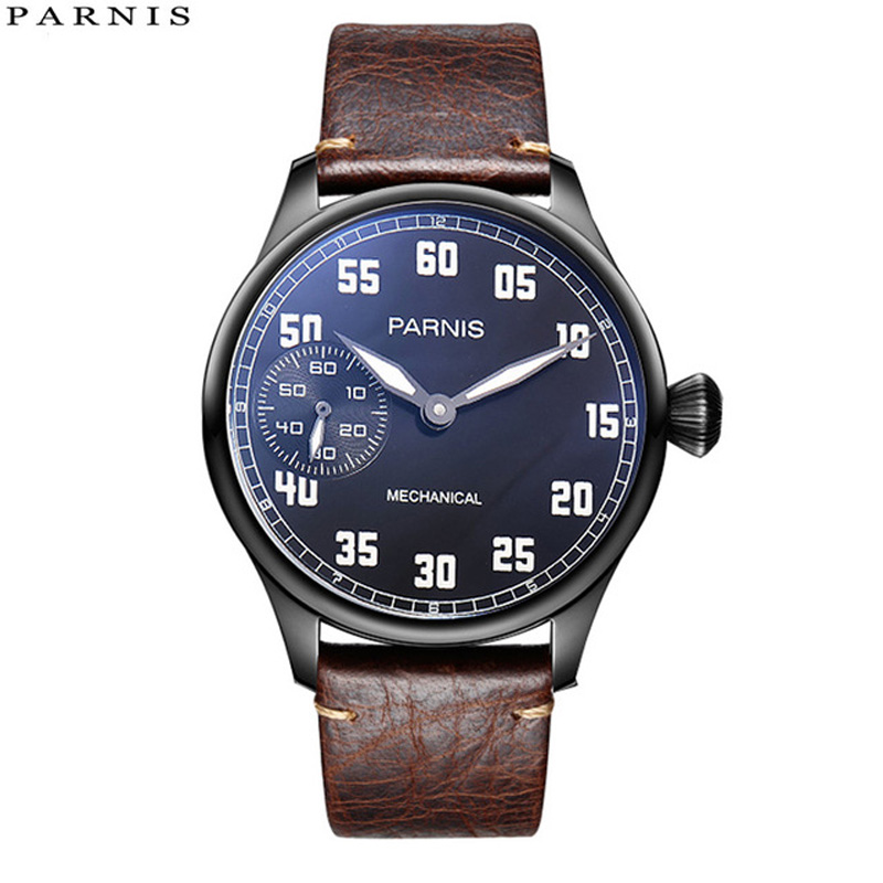 2018 Issue Casual Man Watch Mechanical Hand Winding Watch Leather 44mm Parnis Hand Wind Power Reserve Watch 17 Jewels-in Mechanical Watches from Watches    1
