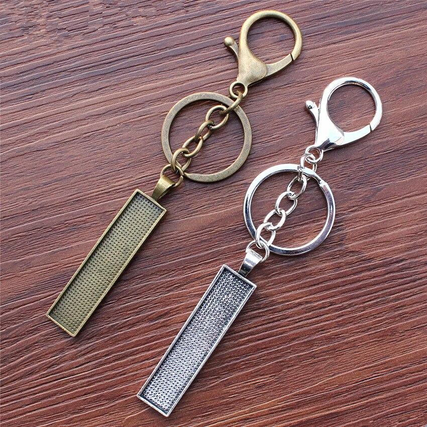 Fit 10x50mm Rectangle Antique silver/bronze Handmade Key rings buckle Cabochon Frame Bezel Settings Tray blank 5pcs/lot K05488