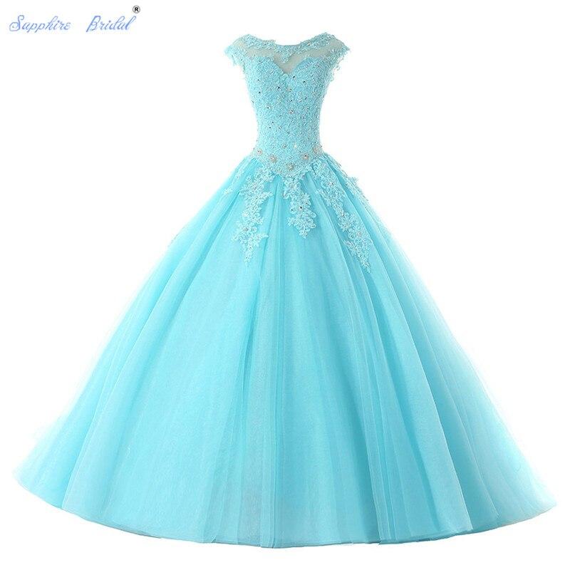 Saphir mariée longues robes De soirée Vestido De 15 Anos De Cap manches dentelle dos ouvert lilas menthe bleu perles Quinceanera robe - 2