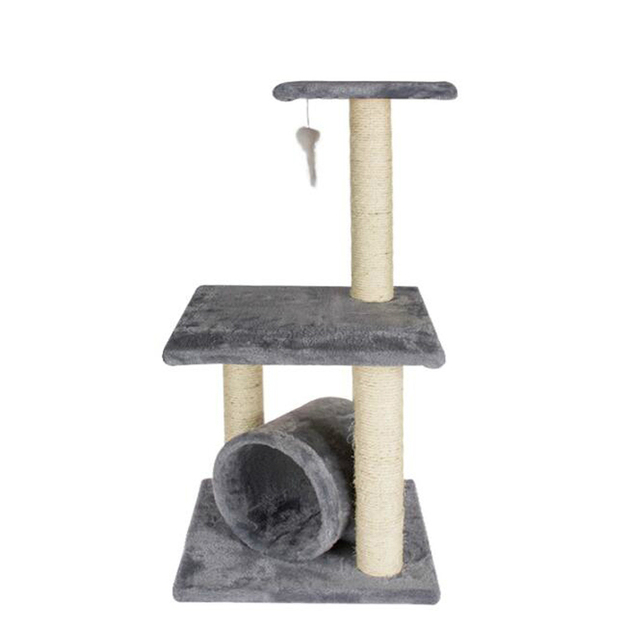 Cat Climbing Toys Natural Sisal Scratching post Claws Grinding Short Plush Pet Tunnel
