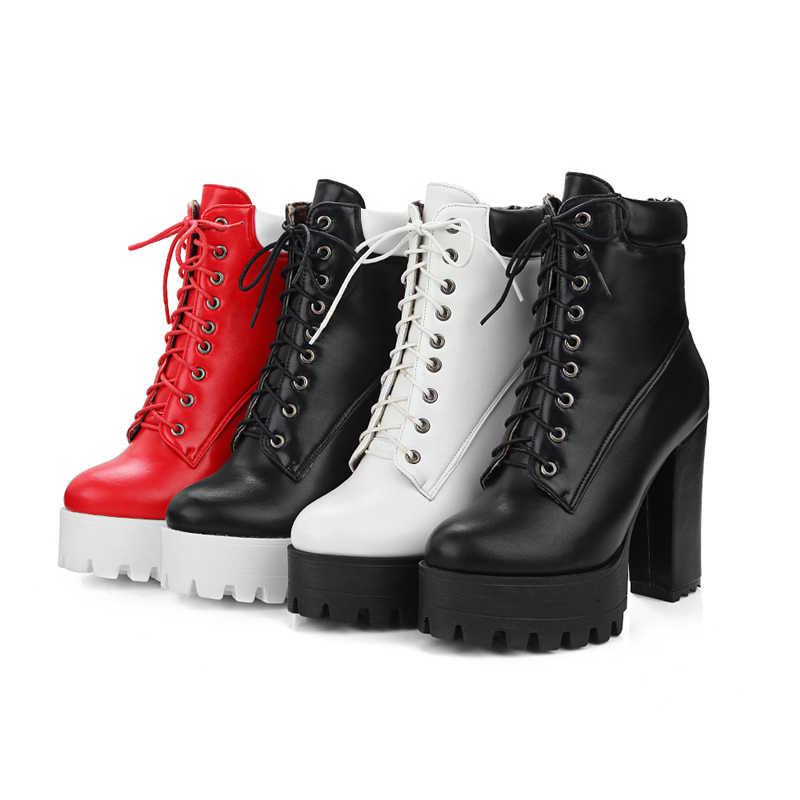 b59323c430058 ... BONJOMARISA 2019 Winter Big Size 34-43 mixed-color Women Platform Ankle  Boots High ...