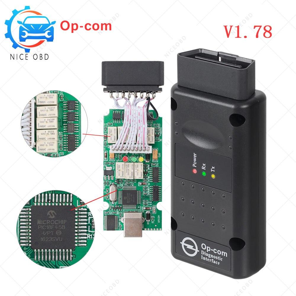 OPEL-herramienta de diagnóstico para coches opel, Chip de escáner PIC18F458, versión 1,78, para OPEL cars V2014, CAN BUS, opcom, opel V1.78, PIC18F458