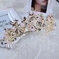 Nova Chegada Do Vintage Feitos À Mão mulheres tiaras de Ouro Moda rose gold rhinestone Diadema para o vestido de Casamento Da Noiva Cabelo acessórios de jóias