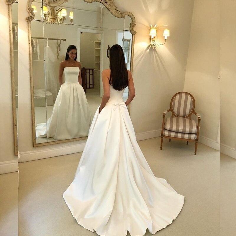 Simple Boho A line Wedding Dresses Strapless Satin Draped Bridal Dress Bow Sashes Vestidos De Noiva