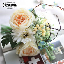 Kyunovia Real Touch Artificial Mixed Rose with Berry Artificial Flowers Wedding Decor Dropped in a vase or wedding bouquet D43(China)