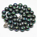 European luxury vintage necklace hot sale natural rainbow black shell pearl round 8,10mm beads elegant jewelry 18inch B1471