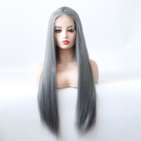 Glueless Synthetic Lace Front Straight Wig for Black Women Dark Grey Lace Front Wig