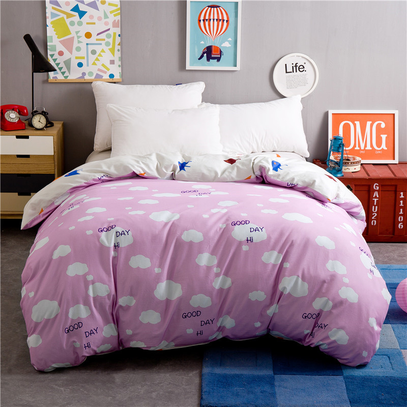 Cute Pink + White Clouds Pattern Thickening 1 Piece Duvet Cover With Zipper 100% Cotton Quilt Or Comforter Or Blanket Case Soft
