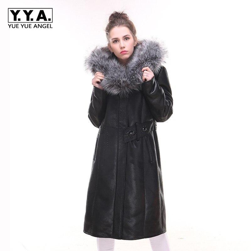 2019 Winter Korean Style New Womens PU   Leather   Long Jacket Ladys Zipper Pockets Hooded Fashion Coat Female Jaqueta Motoqueiro