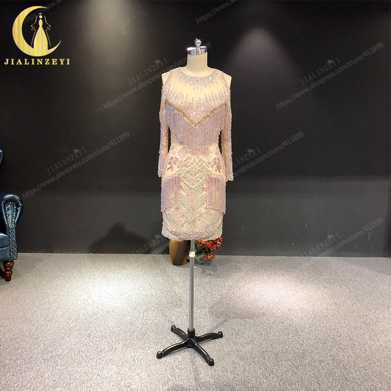 Rhine Real Sample Image Pink Full Beads Crystal Zuhair Murad Long Sleeves Knee Length Formal Dresses Prom Dress