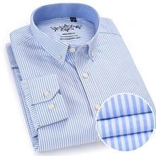Мужская рубашка из ткани Оксфорд, Повседневная однотонная хлопковая рубашка с длинными рукавами в клетку, большие размеры 5XL, 6XL, весна осень