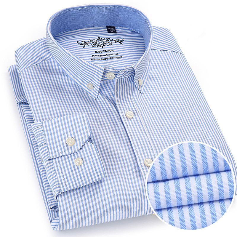 New Spring Autumn Oxford <font><b>Mens</b></font> <font><b>shirts</b></font> long sleeve Cotton casual <font><b>shirt</b></font> solid plaid camisa 5XL <font><b>6XL</b></font> Big size camisa social masculina image