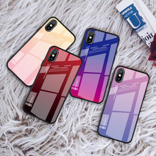 luxury Gradient Tempered Glass Cases for iPhone X XS MAX XR Color Shockproof Case 7 8 6 6S Plus Back Cover