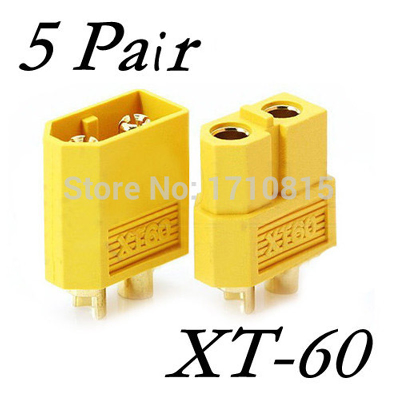Wholesale 5 Pair Of XT60 XT-60 Male Female Bullet Connectors Plugs For RC Lipo Battery Quadcopter Multicopter Free Shipping injora 5 pairs xt60 xt 60 male female bullet connectors plugs for rc car drone lipo battery