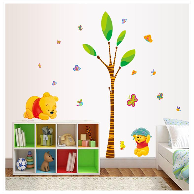 cute cartoon winnie the pooh bear tree home decor for kids room decoration wall stickers nursery. Black Bedroom Furniture Sets. Home Design Ideas