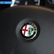1 Uds 4cm 40mm para ALFA ROMEO 147, 156, 166, 159 Giulia Stelvio 4C 8C GT dirección distintivo para el volante emblema pegatinas accesorios de coche
