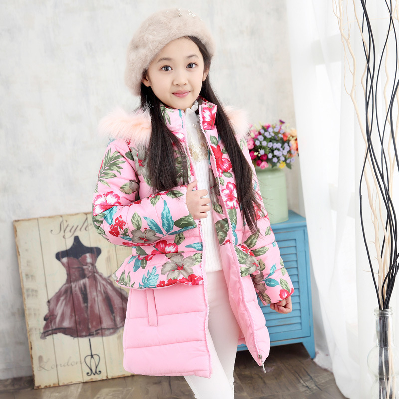 Girls Cotton Jacket Winter Clothing Thickening Hooded Long Coat Kids Clothes Fashion Girls Winter Outerwear Keep Warm Costume 2017 new fashion girls winter warm coat kids jacket hooded snow wear cotton down outerwear girl solid color winter clothes