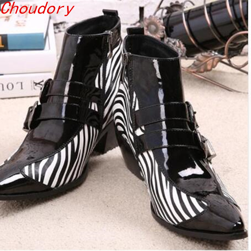 Choudory New Winter Shoes leather Men Pointed Toe Buckle Mens Dress Boots zebra strip Men Height Inceased Mens High heelsChoudory New Winter Shoes leather Men Pointed Toe Buckle Mens Dress Boots zebra strip Men Height Inceased Mens High heels