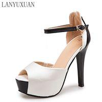 2017 גודל גדול חדש חמה למכירה חתונה בקיץ סנדלי 32-48 נעלי כלה גבירותיי נעלי העקב גבוה סקסיות אופנה משאבות מסיבת ריקודים T871