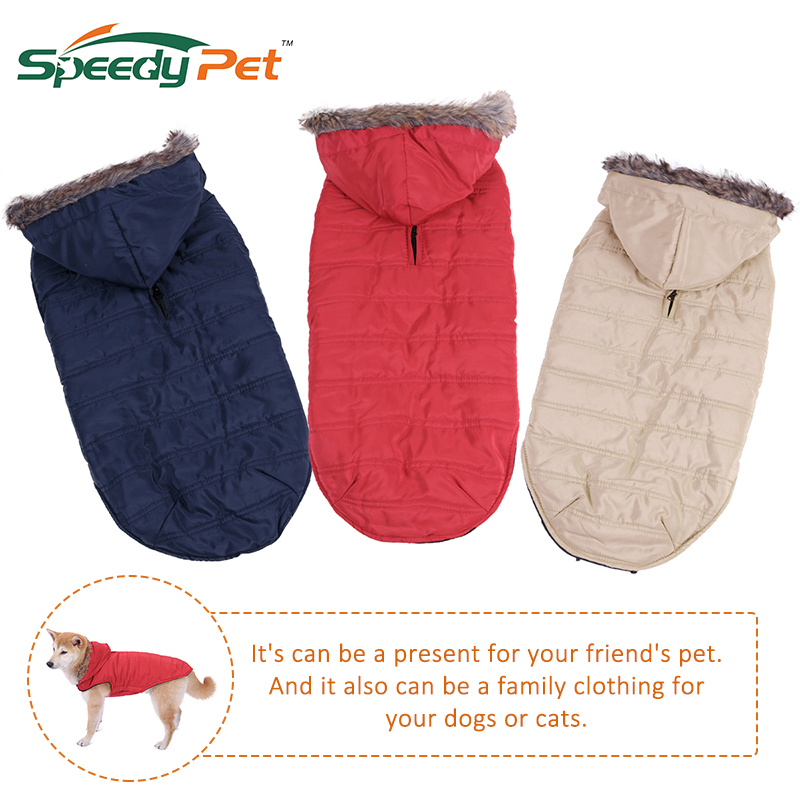Winter Thick Warm Dog Jacket Coat Removable Hat Jumpsuit Windproof Warm Fur Faux Hoody W ...