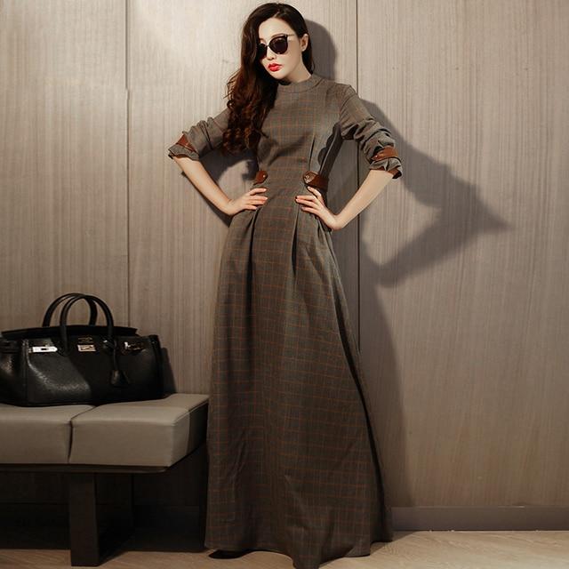 65e5be55583b Conception originale Nouveautés Automne Femmes Dames Vintage Élégant Mince  Classique Plaid À Manches Longues Maxi Dress