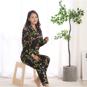 Image 2 - חדש אביב מזדמן 100% כותנה ארוך שרוול פיג מה לנשים הדפסת פיג מה סט נשים של יפני פיג מה Mujer מכנסיים פיג