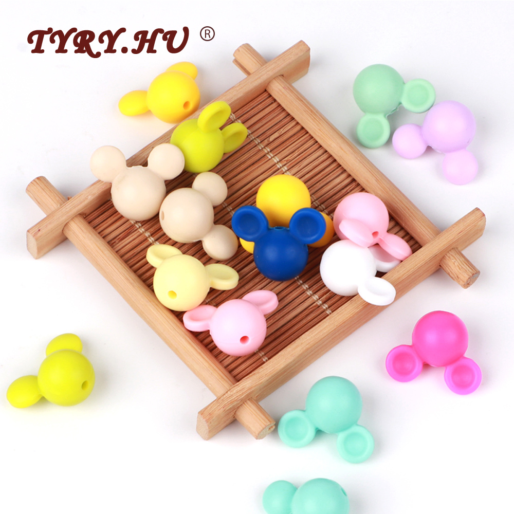 TYRY.HU Mickey Silicone Beads Baby Teething Bead Cartoon BPA Free ChewTeether Bead Baby DIY Pacifier Clip Necklace Newborn Toy
