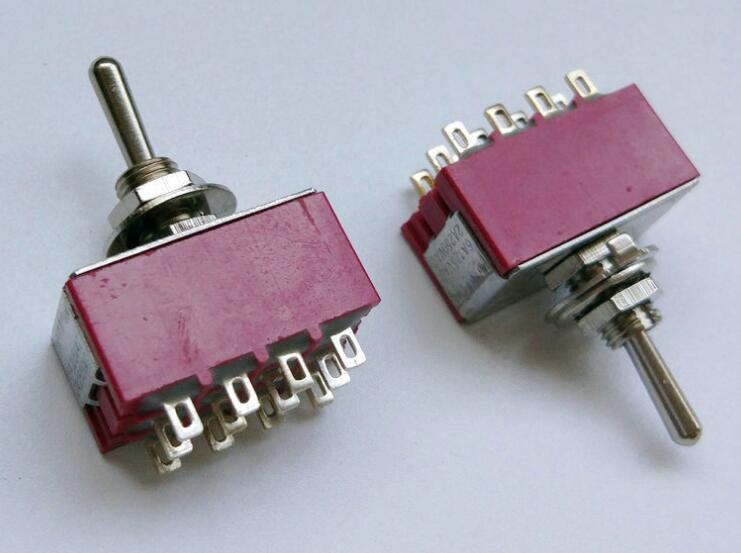 цена на ON/ON 2 Positions Latching 12 Pin Terminal Rocker Type Toggle Switch 6mm AC 250V 2A MTS-402 1pc