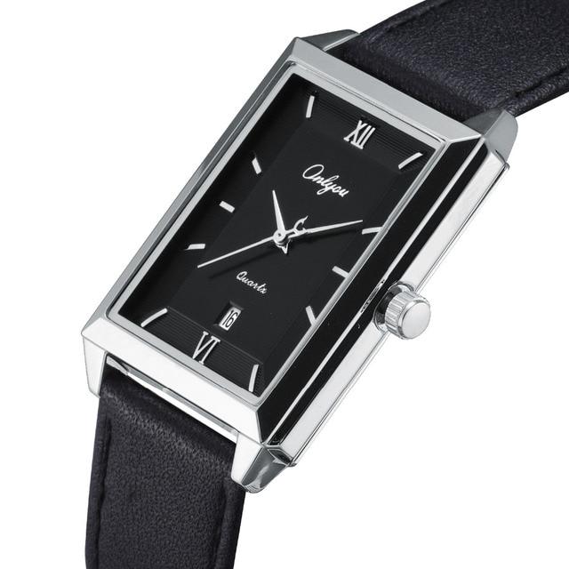 8859fff7a28 Onlyou relógios de pulso para homens pulseira de couro de bezerro de ouro  retângulo preto relógio