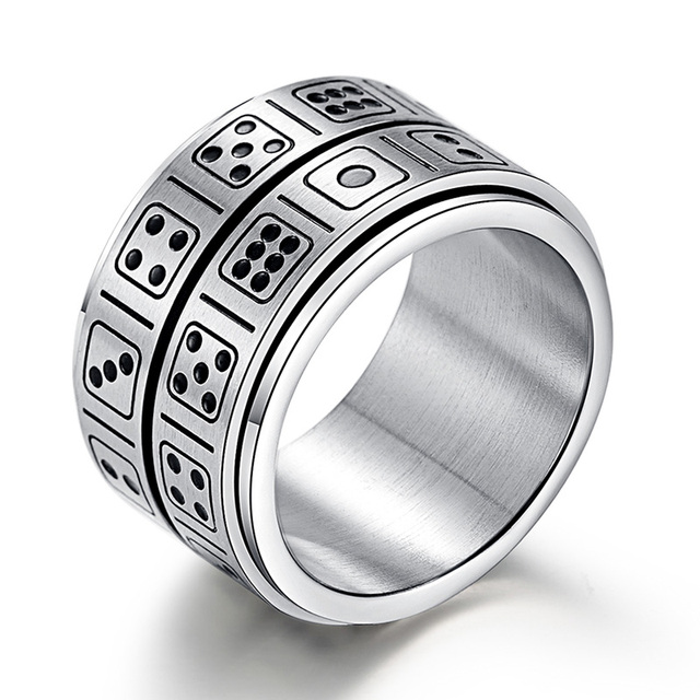 Double Layer Dice Spinner Party Ring Silver Color Game Stainless Steel Ring for Men Women Creative Entertainment Finger Jewelry