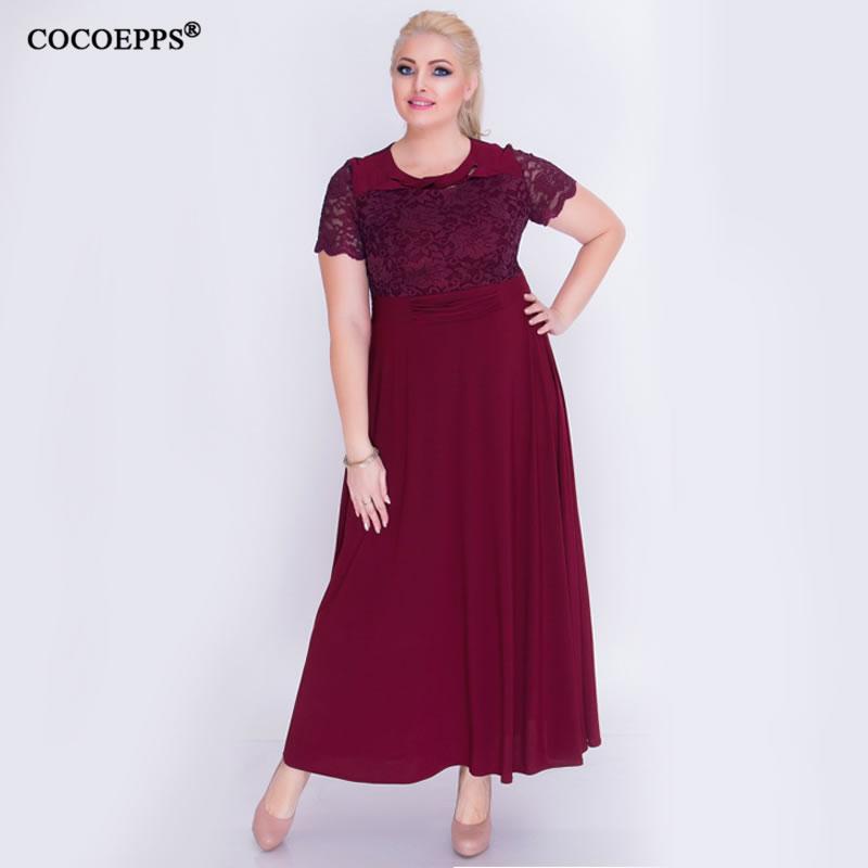5XL 6XL 2018 New lace Patchwork Women Summer Dresses Plus Size Stitching  Elegant Party maxi dress Female Big Size vestidos 573da985d2f5